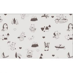 Dendennis Little Woodland Adventure Stof Jersey Play in the Forest Taupe