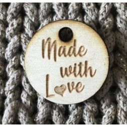 Ronde houten label Made with love , 3 cm