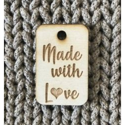 Houten label Made with love, 3x4 cm