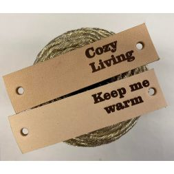 Leren Label 8x2 cm ''Keep me warm'' Naturel