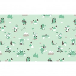 Dendennis Little Woodland Adventure Stof Jersey Play in the Forest Mint